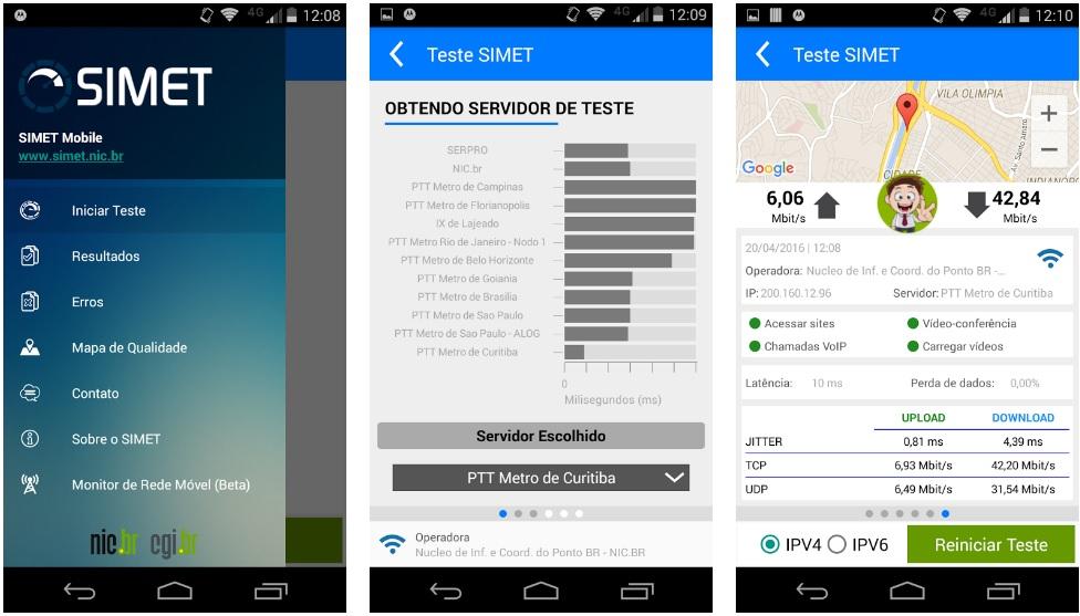 teste de velocidade - aplicativo simet - medir velocidade internet