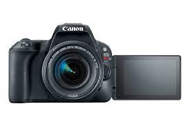 Canon EOS Rebel SL2 com visor de imagem aberta