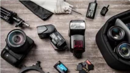 imagem de câmera, flash e outros acessórios