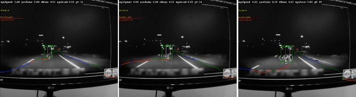 Seqência de 3 imagens com a ciclista e traços luminosos definindo pontos