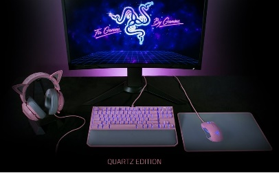 Kit da Razer gamers nas cores cinz e rosa