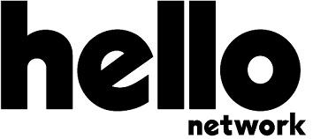 Logotipo da Hello network as palavras escritas em preto