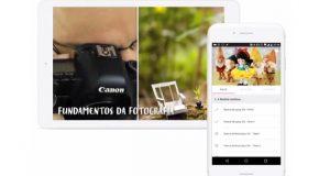 imagem de tablet e Smartphone com imagem de curso de fotografia