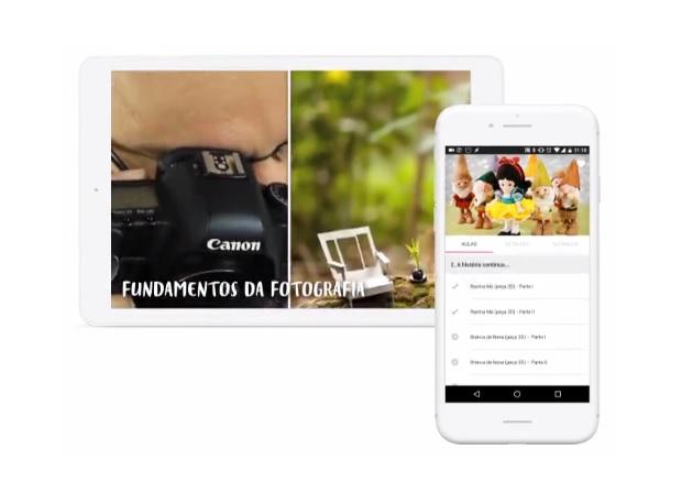 fotografia de tablet e Smartphone com imagem de curso de fotografia