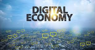 imagem futurística e escrito digital economy (economia digital em inglês)