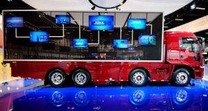 Caminhão Ford com pontos de tecnologias indicados