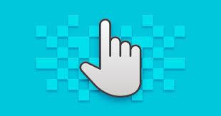 Marketing digital mão com indicador clicando em fundo azul