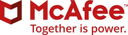 Logomarca da McAfee antivirus contra cibercriminosos