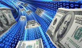 Dinheiro circulando em túnel tecnológico - Fintech e marketing digital
