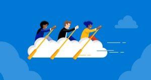 desenho de pessoas remando em um barco na nuvem microsoft