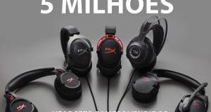Vários headphones HyperX e a referência 5 milhões