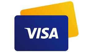 Cartão visa com sombra amarela