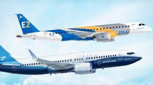 Aviões Embraer e Boeing vondo juntos