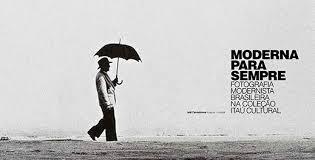 Banner homem com guarda chuva exposição Moderna para sempre