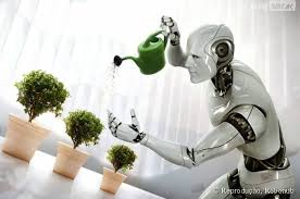 Um robô regando plantinhas em vasos