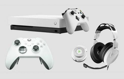 O controle Xbox One X cor branca