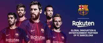 Jogadores do Barcelona patrocinado pela Rakuten