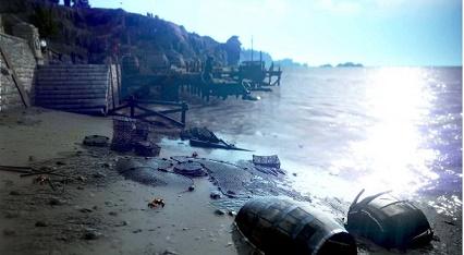 Cena destroços a beira mar no Black Desert