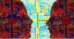 2 faces se olhando formadas em mosaico representando IA
