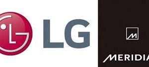 Logomarca parceria LG Meridian em caixas com Bluetooth