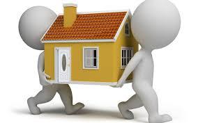 2 bonequinhos carregando uma casa Relocation