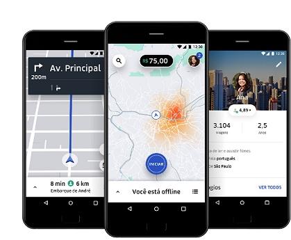 3 smartphnes com app da Uber