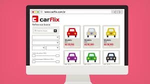 Tela de PC com carros usados Carflix