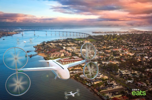 Aeronave da Uber Eats sobrevoando cidade
