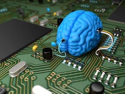 Cérebro azul sobre placa de trilhas IA