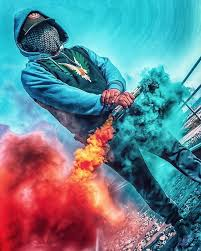 Foto com bomba de fumaça