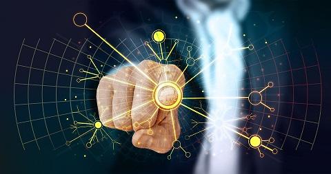Dedo acionando Inteligência Artificial