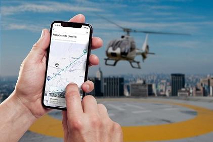 Smartphone com app Helicóptero Voom
