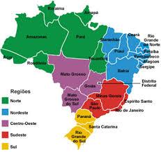 Mapa com estados e regiões