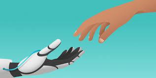 Mão mecânica e humana