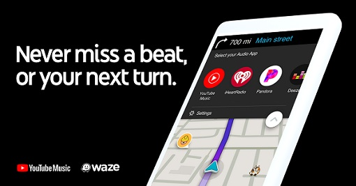 YouTube Music agora no Waze