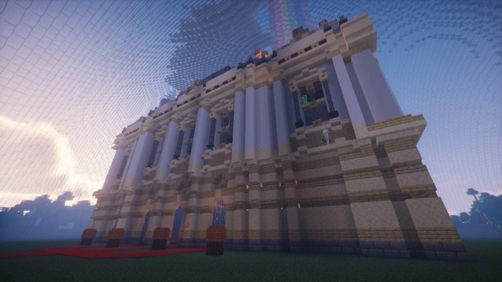Salão visto do lado de fora em formato Minecraft