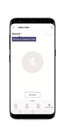 Teams Walkie Talkie para Android é uma experiência push-to-talk que permite uma comunicação de voz clara, instantânea e segura na nuvem