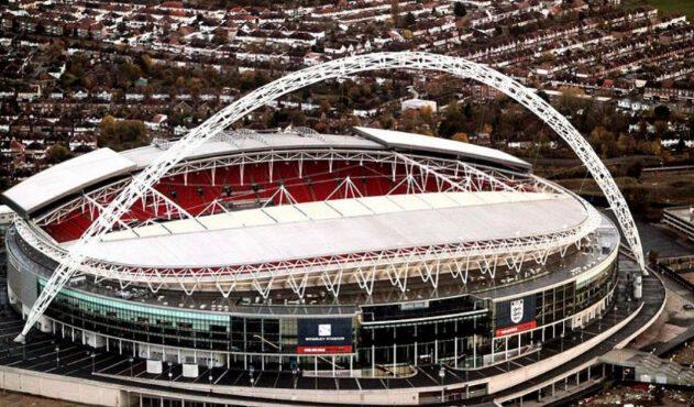 Foto do Estádio de Wembley, em Londres, palco da final da Euro 2020